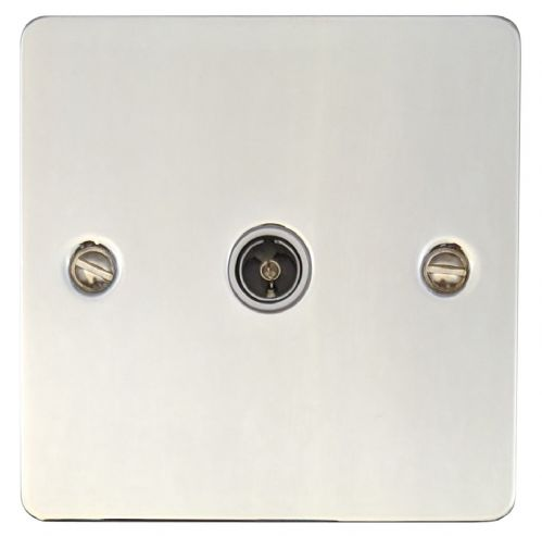G&H FC35W Flat Plate Polished Chrome 1 Gang TV Coax Socket Point